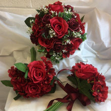 wedding bouquet package of red artificial flowers