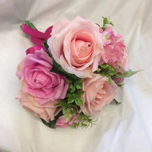 bridesmaids posy of artificial silk pink roses and hydrangea flowers