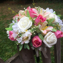 pink and ivory wedding bouquet of artificial flowers