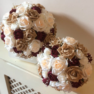 wedding bouquet of champagne, ivory, coffee and burgundy foam roses