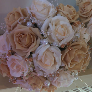 a wedding bouquet collection of cream & gold foam roses & pearls