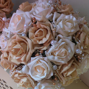 - a wedding bouquet collection of cream & gold foam roses & pearls