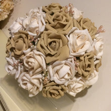 - A wedding bouquet collection of coffee & latte foam roses & crystals