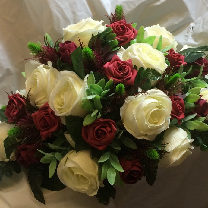 top table artificial flower arrangement in burgundy and ivory