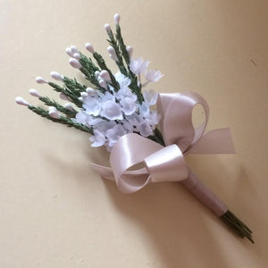 artificial lavender wedding buttonhole