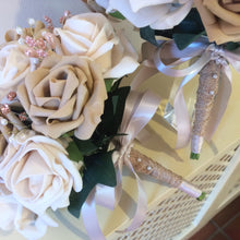 A wedding bouquet collection of coffee & latte foam roses & crystals