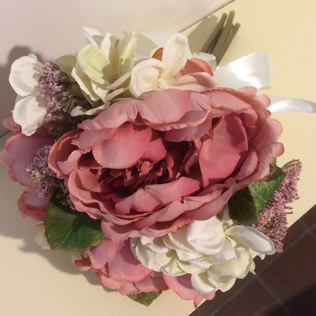 brides bouquet or dusky pink silk peonies