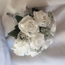 a wedding bouquet collection of white & silver grey foam roses