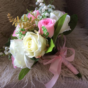 bright pink and ivory artificial wedding bouquet