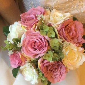 dusky pink and white brides or bridesmaids wedding bouquet
