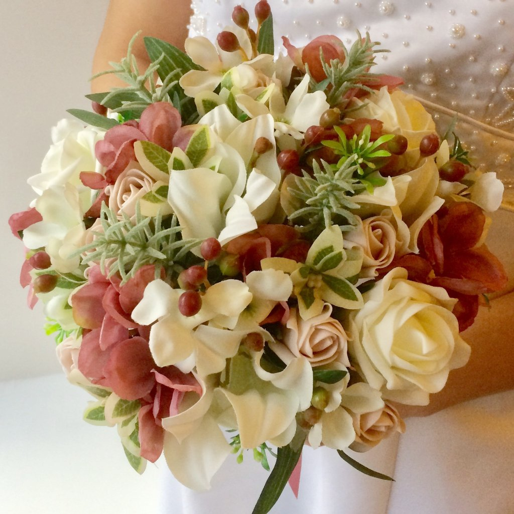 artificial silk wedding bouquet
