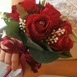 bridesmaids bouquet of red silk roses with diamante centres