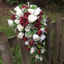 burgundy and ivory artificial teardrop bridal bouquet