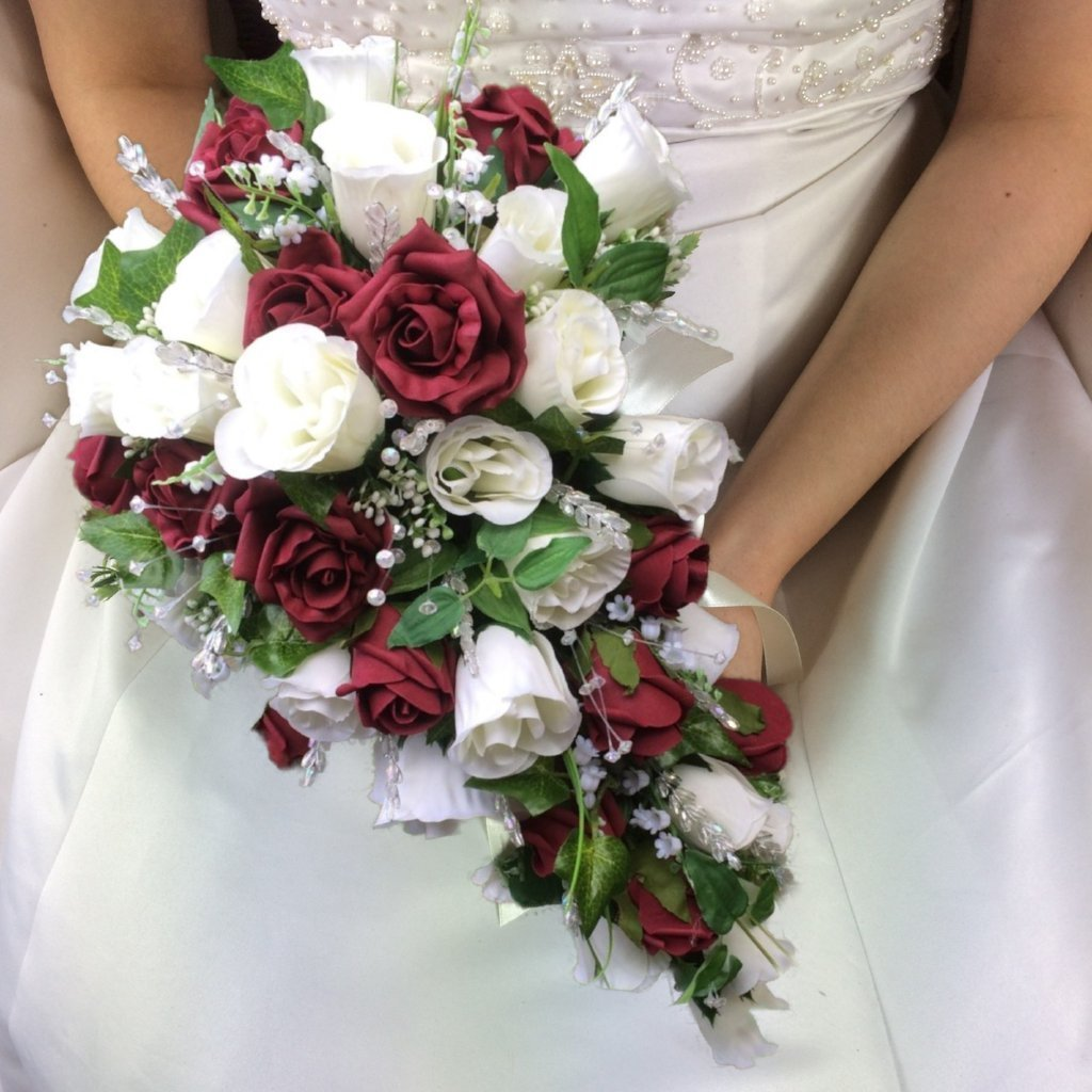 teardrop wedding bouquet of ivory and burgundy rose and crystals