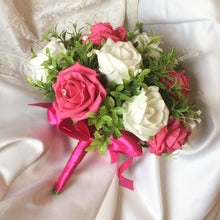 cerise and white foam rose wedding bouquet