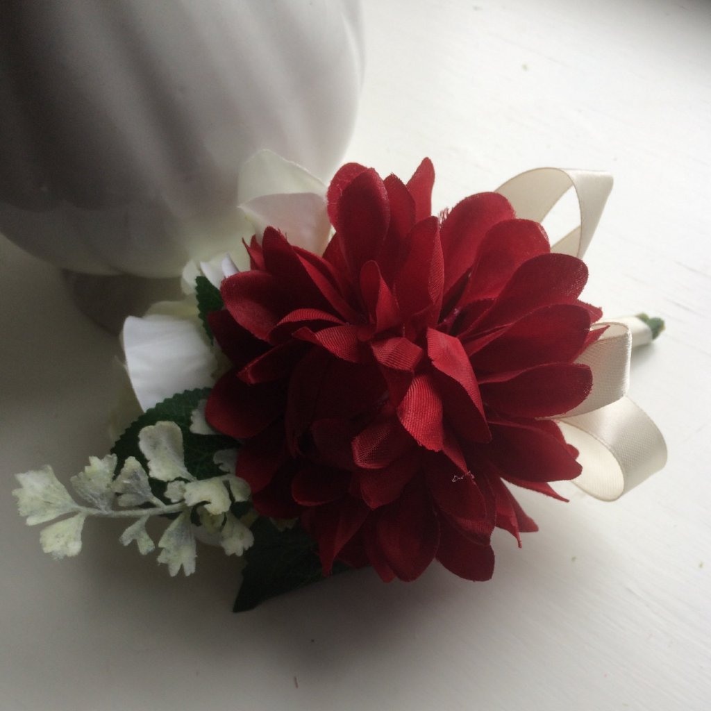 corsage of a silk dahlia and rose