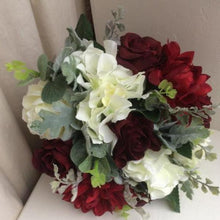 wedding bouquet artificial silk burgundy and ivory flowers