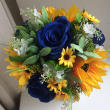 A wedding bouquet collection of sunflowers and royal blue roses