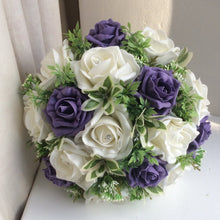 an artificial wedding bouquet of light purple and ivory foam roses