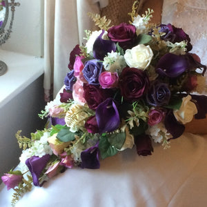 teardrop bouquet of artificial flowers