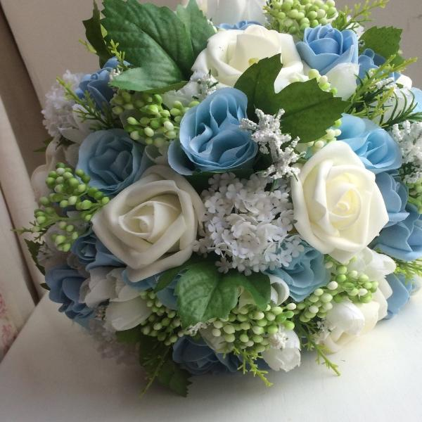 a wedding bouquet of artificial silk and foam flowers