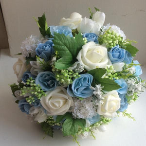 a bridal bouquet of artificial silk & foam ivory, White & blue flowers