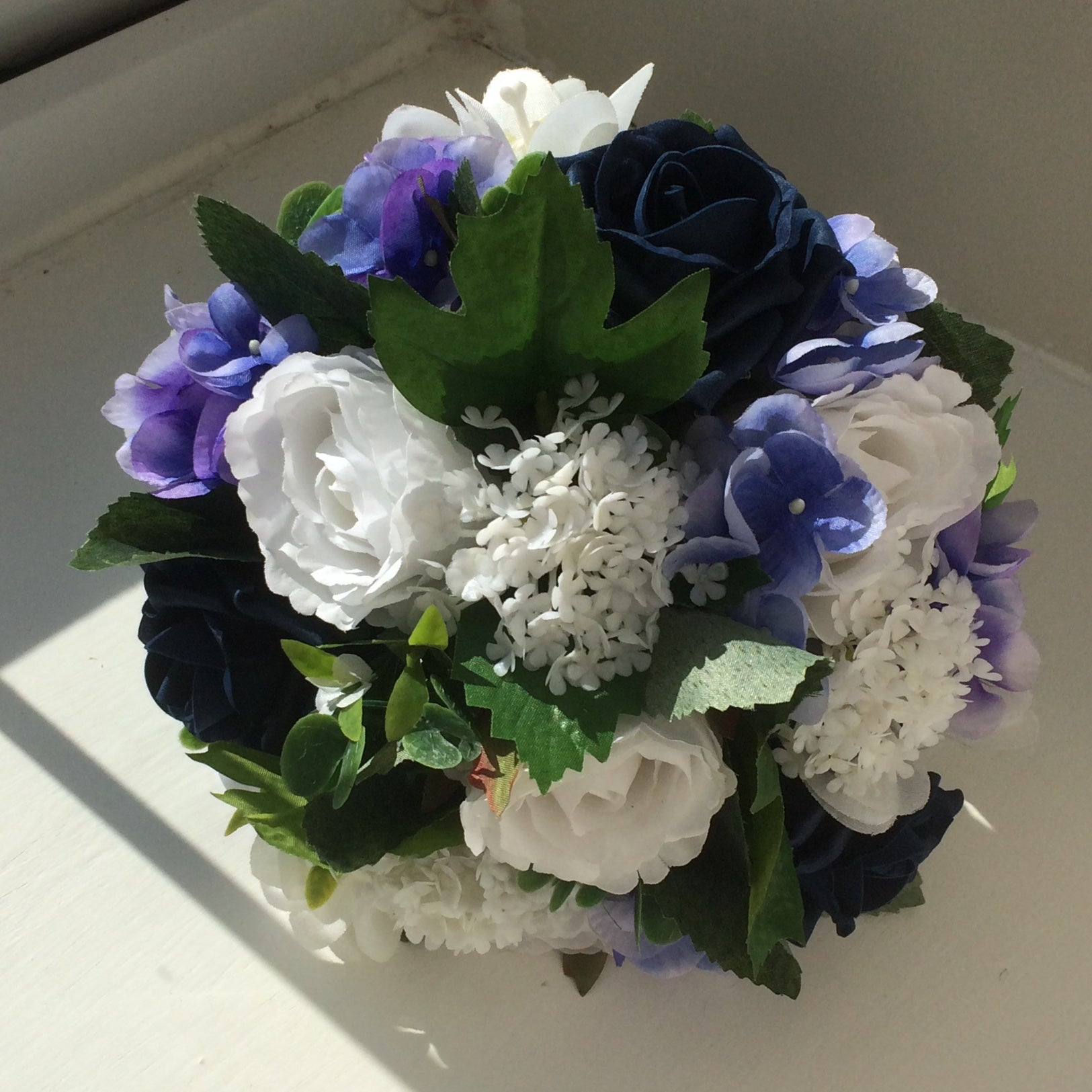 A Wedding Bouquet Collection Of Royal Blue Or Navy White Flowers Abigailrose