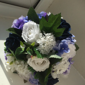 a wedding bouquet collection of royal blue or navy & white flowers