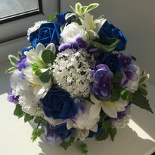 - a wedding bouquet collection of royal blue or navy & white flowers