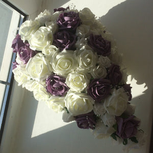 a teardrop bouquet featuring foam roses in a choose of 35 colours