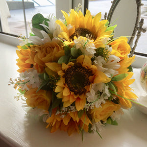 artificial silk wedding bouquet of yellow sunflowers and roses