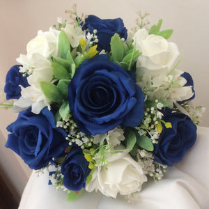royal blue and ivory artificial roses feature in this handtied bouquet