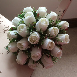 LAST ONE - A bridal bouquet featuring artificial silk white roses and gyp
