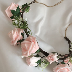 rustic flower crown using pale pink roses