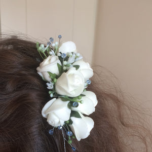 ivory foam roses and crystal hair comb