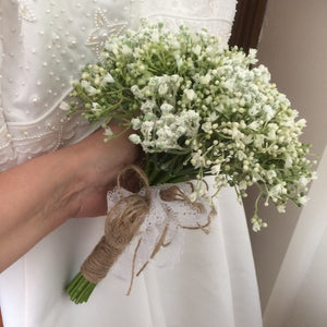 An wedding bouquet collection of artificial Gypsophila