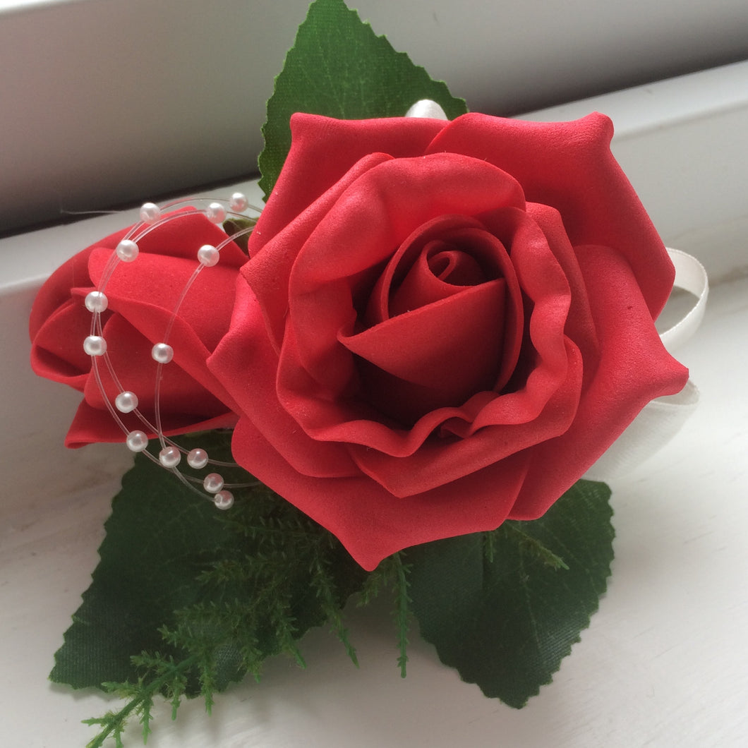 wedding corsage of foam roses