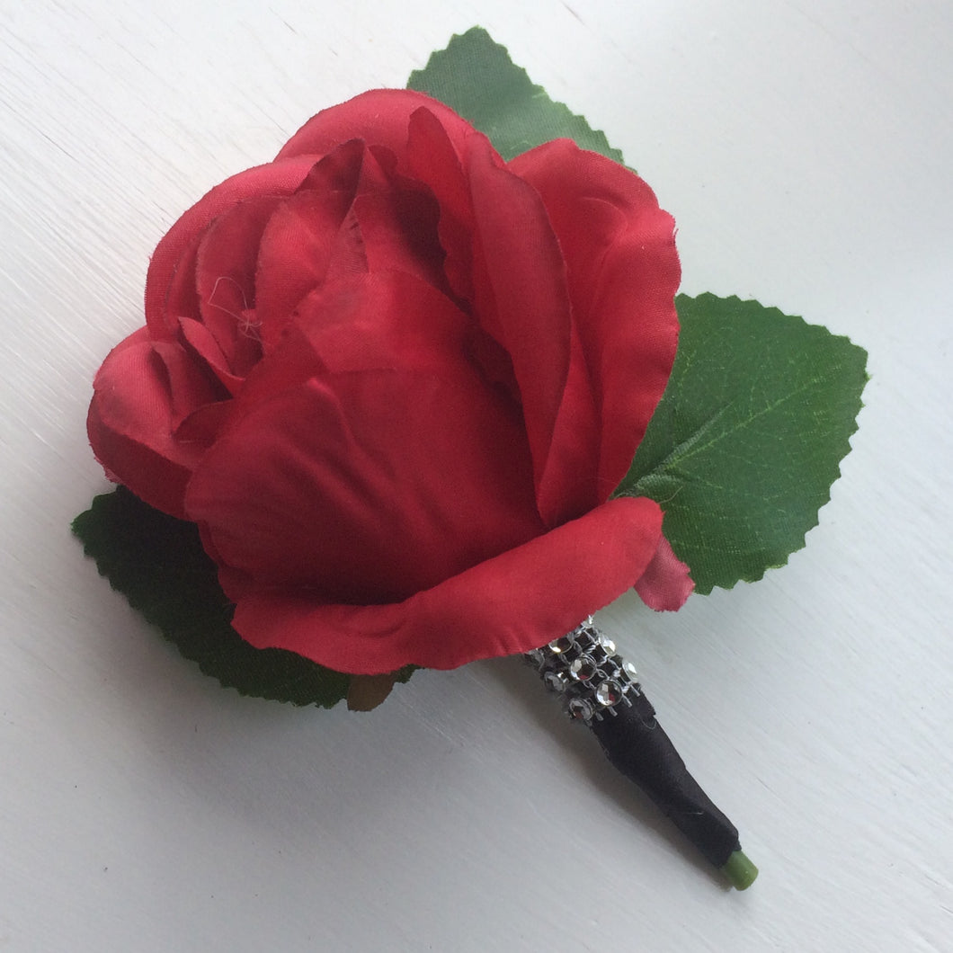 red rose buttonhole with diamante band