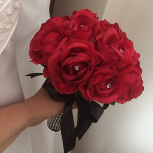 A bouquet collection featuring artificial silk roses (choice of colours available)