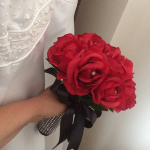 A bouquet collection featuring artificial red silk roses
