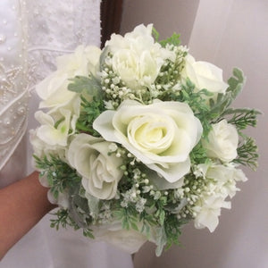 - A wedding bouquet collection of artificial silk roses, hydrangea & gyp