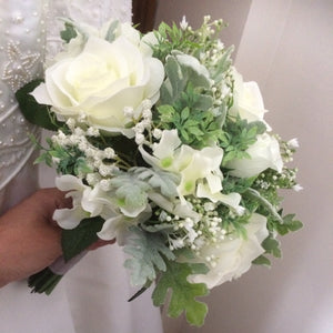 wedding bouquet of ivory silk flowers