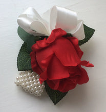 WRIST CORSAGE - features a bright red artificial silk rose