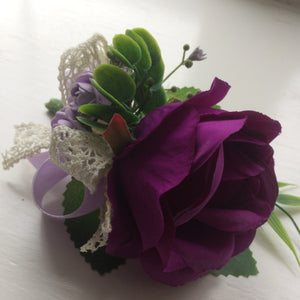 purple rose wedding buttonhole
