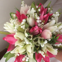 A Spring bouquet collection of ivory & pink silk tulip flowers