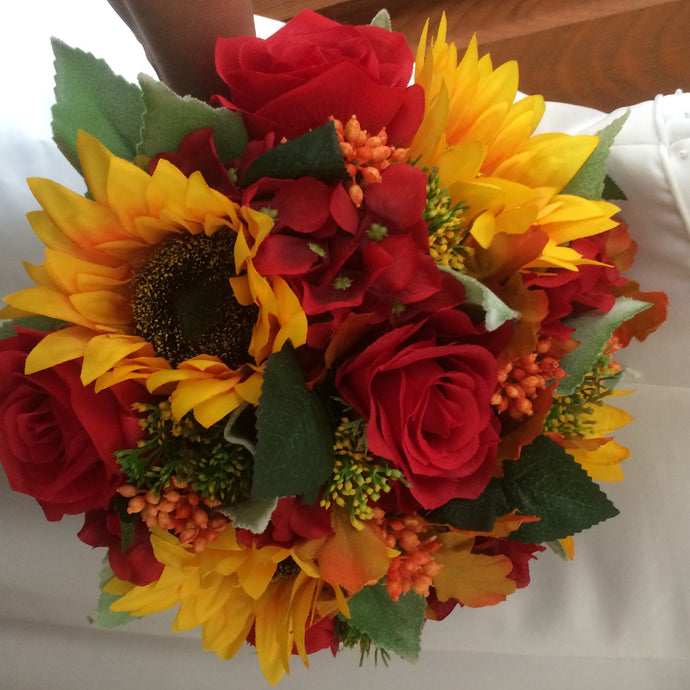 an autumn bouquet using artificial flowers for the bride