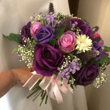 purple artificial wedding bouquet