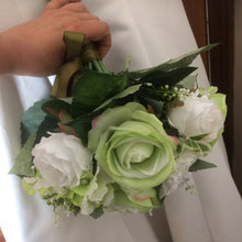 green and white silk flower bouquet