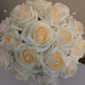 A collection of wedding bouquets featuring champagne blush foam rose with diamante