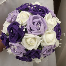 purple lilac and ivory wedding bouquet